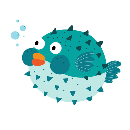 Blue Blowfish cartoon character. Isolated on white background. Vector illustration.