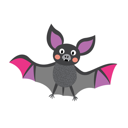 webbed: Flying colorful Bat cartoon character. Isolated on white background. Vector illustration.