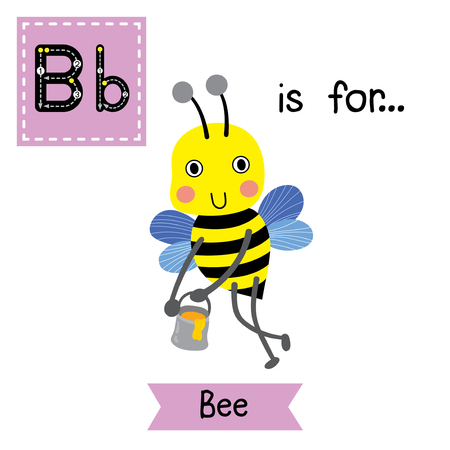 learning english: B letter tracing. Happy big Bee flying around with a brimful jar of delicious honey. Cute children zoo alphabet flash card. Funny cartoon animal. Kids abc education. Learning English vocabulary. Vector illustration.
