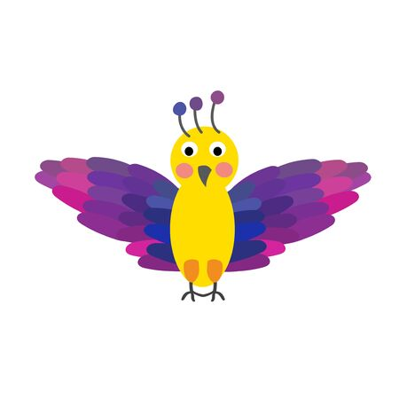 migrating birds: Flying colorful Bird cartoon character. Isolated on white background. Vector illustration. Illustration