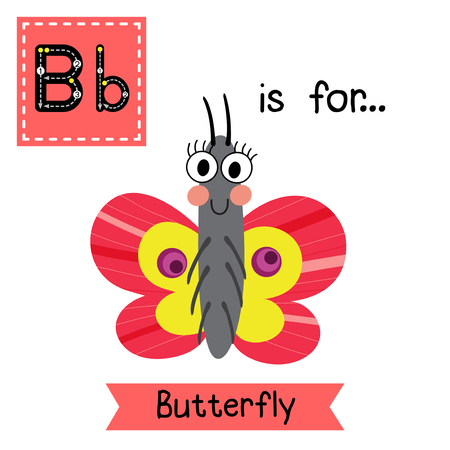 learning english: B letter tracing. Colorful Butterfly. Cute children zoo alphabet flash card. Funny cartoon animal. Kids abc education. Learning English vocabulary. Vector illustration. Illustration