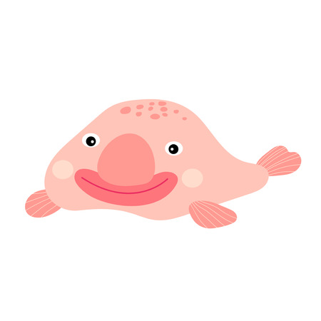 perplexing: Happy smiling pink deep sea Blobfish cartoon character. Isolated on white background. Vector illustration.