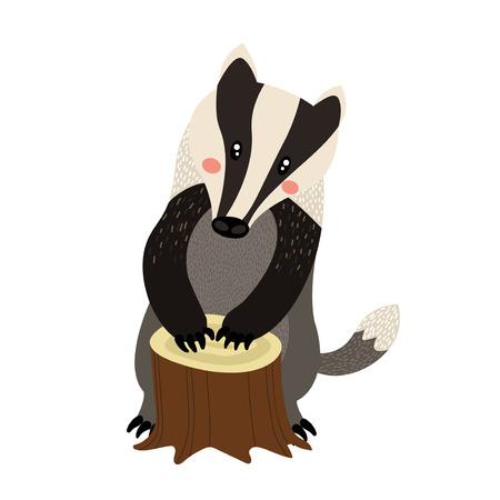 In piedi personaggio dei cartoni animati Badger. Isolato su sfondo bianco. Illustrazione vettoriale.