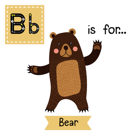 abc kids: B letter tracing. Standing Bear raising two hands. Cute children zoo alphabet flash card. Funny cartoon animal. Kids abc education. Learning English vocabulary. Vector illustration.