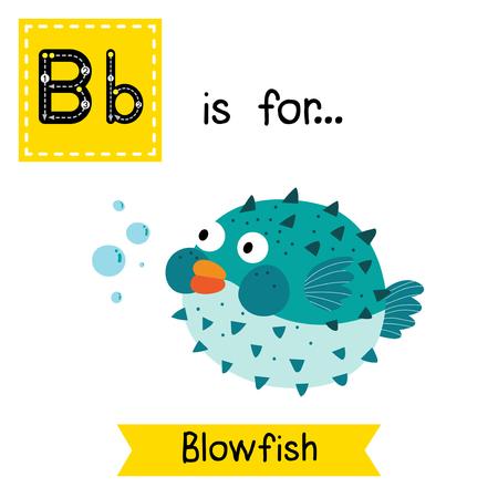 persona escribiendo: letra B rastreo. Blowfish azul. Tarjeta de destello del alfabeto niños zoológico lindo. animales divertidos dibujos animados. Los niños de educación ABC. Aprender vocabulario Inglés. Ilustración del vector. Vectores