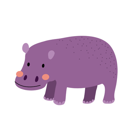 Standing Hippopotamus animal cartoon character. Isolated on white background. Vector illustration.
