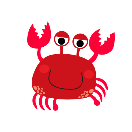 crawling creature: Happy red Crab animal cartoon character. Isolated on white background. Vector illustration.