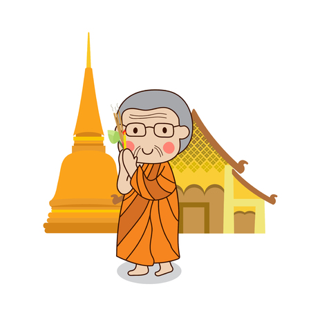 respect: Buddhist monk walking with lighted candles in hand around a temple to pay respect to the Triple Refuges (Buddha, Dhamma, Sangha) vector illustration. Isolated on white background. Illustration