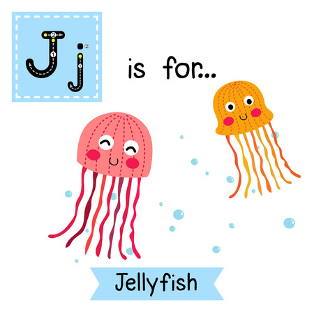 flash card: J letter tracing. Pink and orange Jellyfish. Cute children zoo alphabet flash card. Funny cartoon animal. Kids abc education. Learning English vocabulary. Vector illustration.