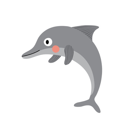 Dolphin animal cartoon character. Isolated on white background. Vector illustration.