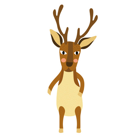 Deer standing on two legs animal cartoon character. Isolated on white background. Vector illustration.