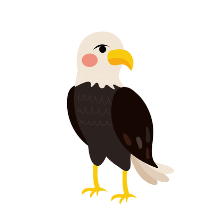 Standing Eagle animal cartoon character. Isolated on white background. Vector illustration.