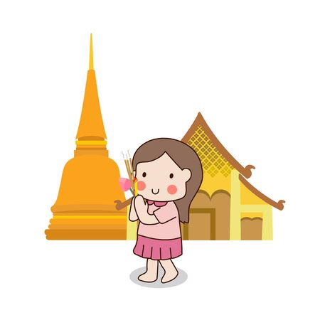lighted: Buddhist girl walking with lighted candles in hand around a temple to pay respect to the Triple Refuges (Buddha, Dhamma, Sangha) vector illustration. Isolated on white background.