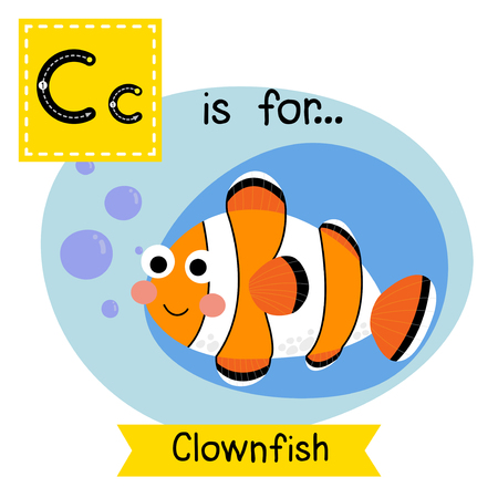 clownfish: C letter tracing. Happy Clownfish. Cute children zoo alphabet flash card. Funny cartoon animal. Kids abc education. Learning English vocabulary. Vector illustration.