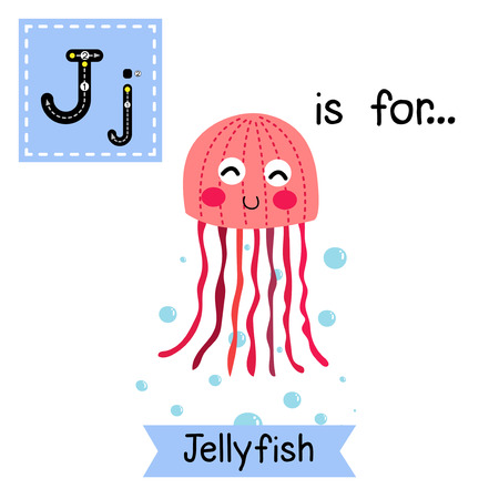 flash card: J letter tracing. Pink Jellyfish. Cute children zoo alphabet flash card. Funny cartoon animal. Kids abc education. Learning English vocabulary. Vector illustration.