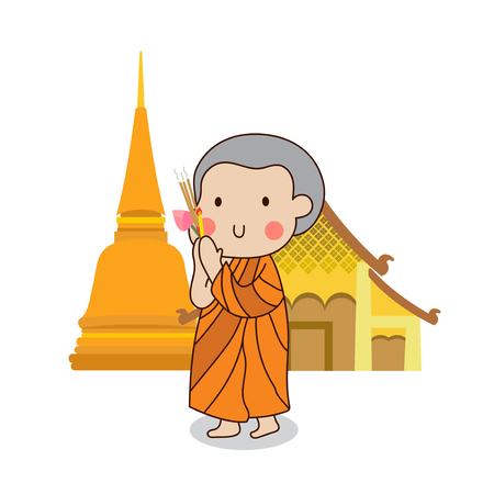 Buddhist novice walking with lighted candles in hand around a temple to pay respect to the Triple Refuges (Buddha, Dhamma, Sangha) vector illustration. Isolated on white background.