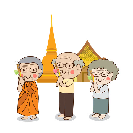 respect: Buddhist walking with lighted candles in hand around a temple to pay respect to the Triple Refuges (Buddha, Dhamma, Sangha) vector illustration. Isolated on white background.