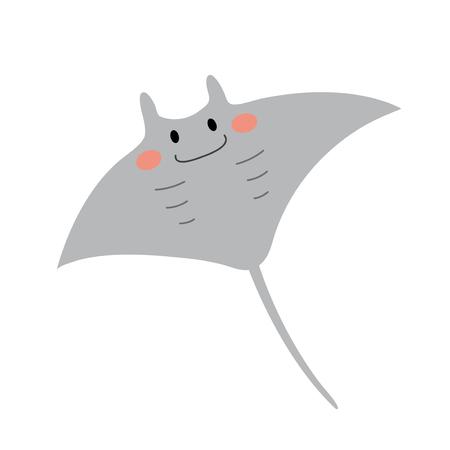 Mantarochen Tier Cartoon-Figur. Isoliert auf weißem Hintergrund. Vektor-Illustration.