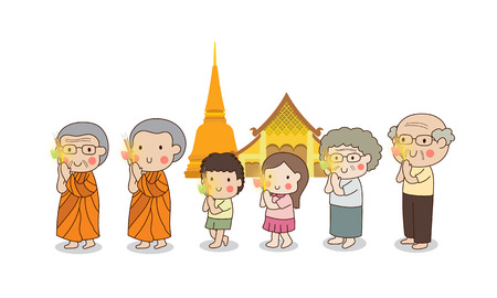 dhamma: Buddhist walking with lighted candles in hand around a temple to pay respect to the Triple Refuges (Buddha, Dhamma, Sangha) vector illustration. Isolated on white background.