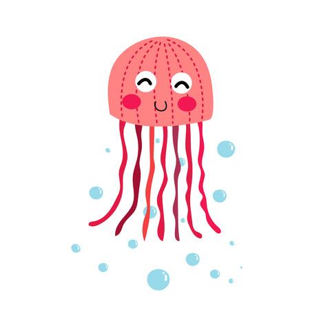 Las medusas de color rosa personaje de dibujos animados de los animales. Aislado en el fondo blanco. Ilustración del vector.
