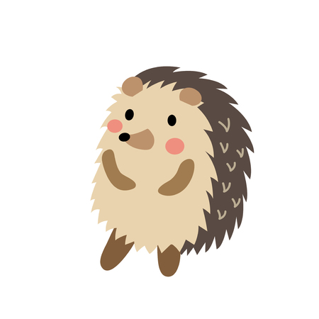 Hedgehog standing on two legs animal cartoon character. Isolated on white background. Vector illustration.