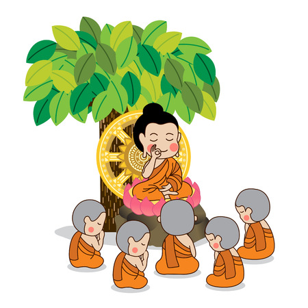 Lord Buddha's first sermon surrounded by the first five disciples of the Buddha vector illustration.  Isolated on white background.