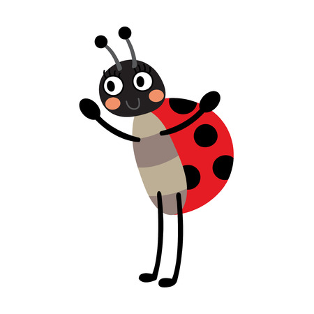coccinellidae: Ladybug standing on two legs animal cartoon character. Isolated on white background. Vector illustration.