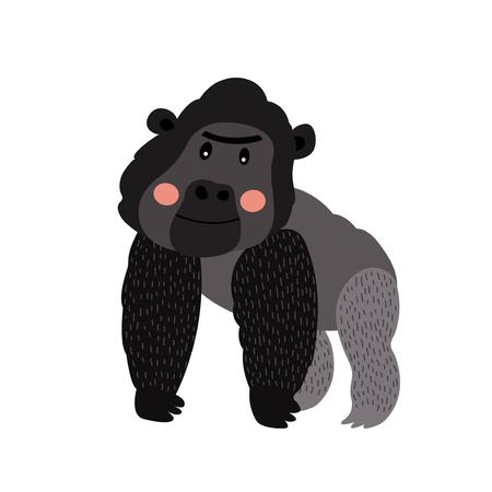 Gorilla animal cartoon character. Isolated on white background. Vector illustration. Illustration