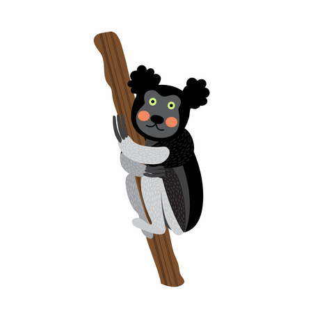 Cute Indri climbing a tree animal cartoon character. Isolated on white background. Vector illustration. Illustration