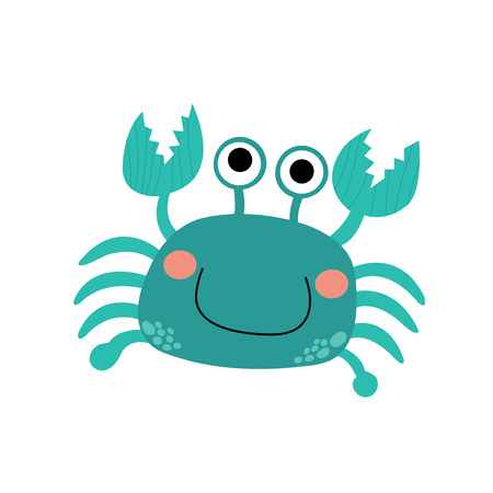 crawling creature: Happy bue Crab animal cartoon character. Isolated on white background. Vector illustration. Illustration