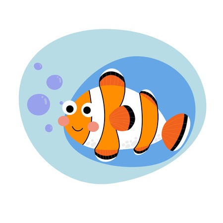 anemonefish: Happy Clownfish animal cartoon character. Isolated on white background. Vector illustration.