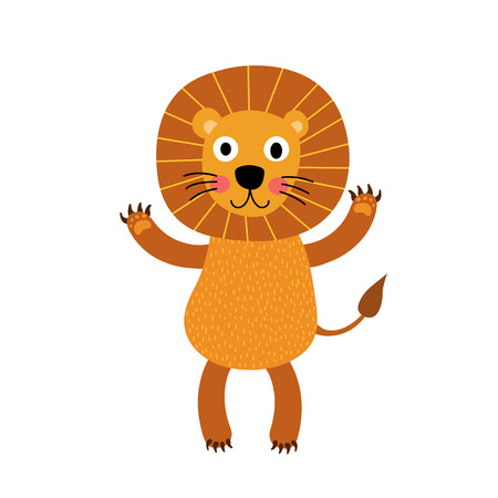 felidae: Lion standing on two legs animal cartoon character. Isolated on white background. Vector illustration.