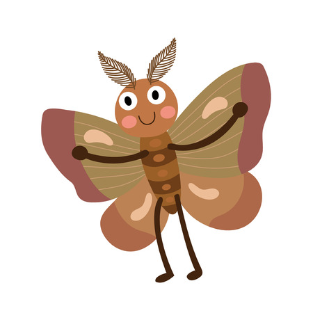 antennae: Moth animal cartoon character. Isolated on white background. Vector illustration.
