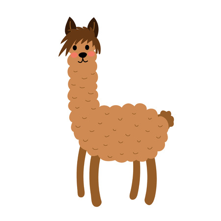 Brown Llama animal cartoon character. Isolated on white background. Vector illustration.