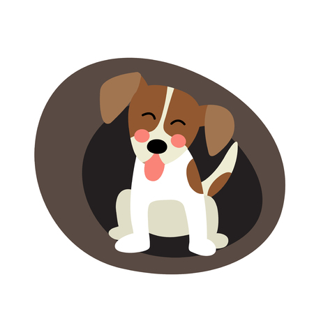 jack russell: Sitting Jack russell terrier dog animal cartoon character. Isolated on white background. Vector illustration.