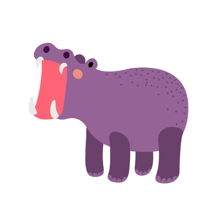 yawn: Hippopotamus opening mouth animal cartoon character. Isolated on white background. Vector illustration.