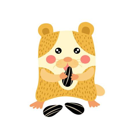 sunflower seeds: Hamster eating sunflower seeds animal cartoon character. Isolated on white background. Vector illustration.