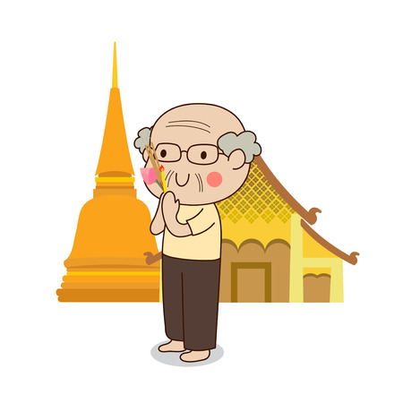 dhamma: Buddhist elderly man walking with lighted candles in hand around a temple to pay respect to the Triple Refuges (Buddha, Dhamma, Sangha) vector illustration. Isolated on white background.