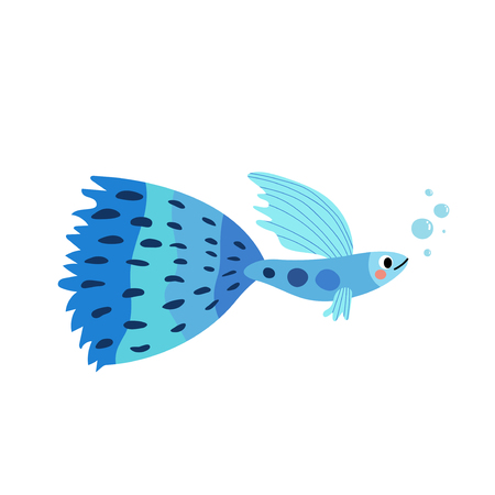 Blue Guppy fish animal cartoon character. Isolated on white background. Vector illustration. Illustration