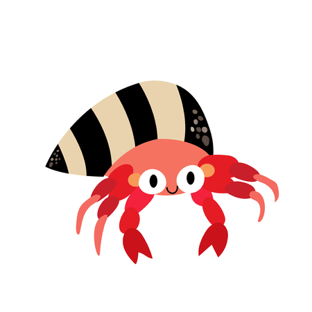 subaquatic: Hermit Crab animal cartoon character. Isolated on white background. Vector illustration.