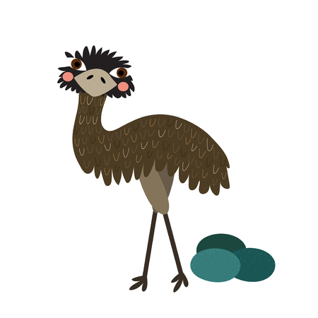 emu: Standing Emu with eggs animal cartoon character. Isolated on white background. Vector illustration. Illustration