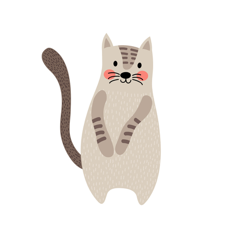 siamese: Javanese cat standing on two legs animal cartoon character. Isolated on white background. Vector illustration.