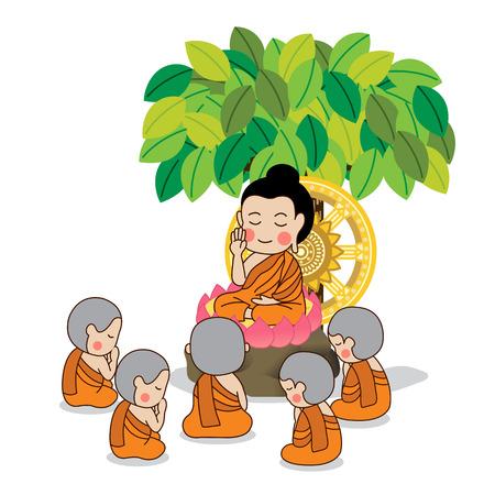 Buddhova prvního kázání obklopen prvních pěti učedníků vektorové ilustrace Buddha. Samostatný na bílém pozadí.