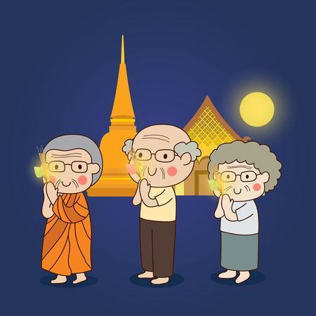 dharma: Buddhist walking with lighted candles in hand around a temple to pay respect to the Triple Refuges (Buddha, Dhamma, Sangha) vector illustration.