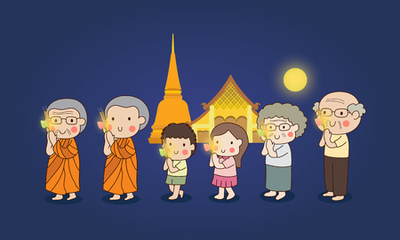 respect: Buddhist walking with lighted candles in hand around a temple to pay respect to the Triple Refuges (Buddha, Dhamma, Sangha) vector illustration.