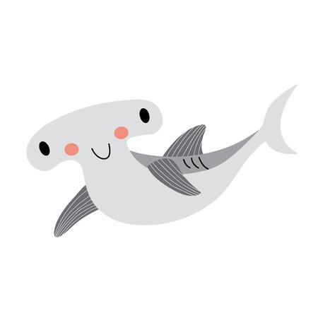 pez martillo: Tibur�n martillo personaje de dibujos animados de los animales. Aislado en el fondo blanco. Ilustraci�n del vector.