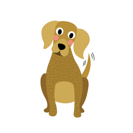 calm down: Sitting Dog animal cartoon character. Isolated on white background. Vector illustration. Illustration