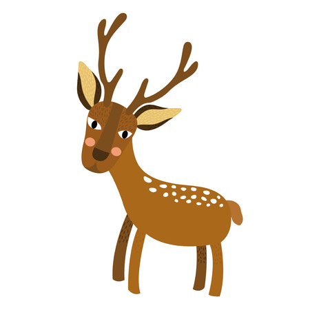 Deer animal cartoon character. Isolated on white background. Vector illustration.