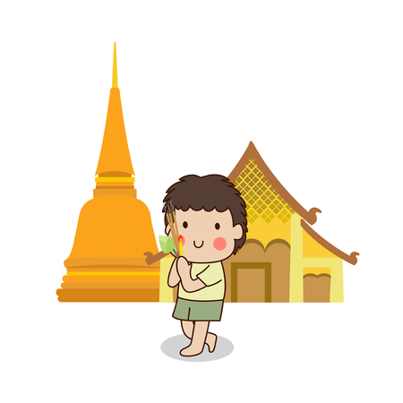 child praying: Buddhist boy walking with lighted candles in hand around a temple to pay respect to the Triple Refuges (Buddha, Dhamma, Sangha) vector illustration. Isolated on white background.