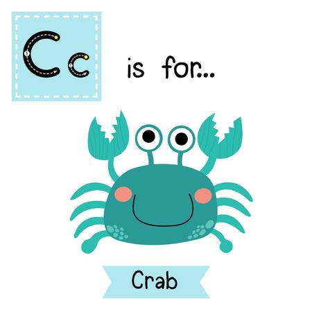 flash card: C letter tracing. Happy blue Crab. Cute children zoo alphabet flash card. Funny cartoon animal. Kids abc education. Learning English vocabulary. Vector illustration. Illustration